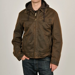 R & O Men's Brown Antiqued Cotton Hooded Jacket