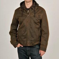 R & O Men's Brown Antiqued Cotton Hooded Jacket