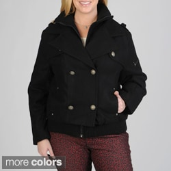 Excelled Women's Plus Size Double-breasted Wool-blend Peacoat