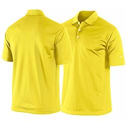 Nike men 39 s yellow dri fit stretch tech golf polo shirt for Yellow golf polo shirts