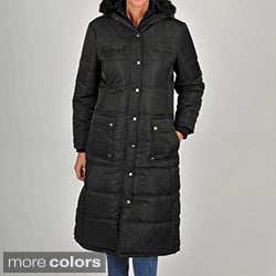 Excelled Women's Black Quilted Hooded Puffer Jacket