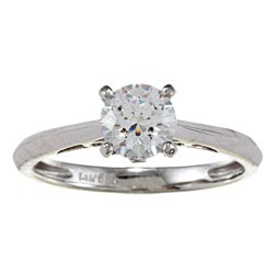 Kabella 14k White Gold Cubic Zirconia and Diamond Accent Ring
