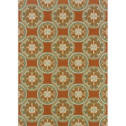 Orange/ Ivory Outdoor Area Rug (8'6 x 13')
