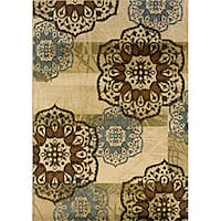 Beige/ Blue Transitional Area Rug - 10' x 13'