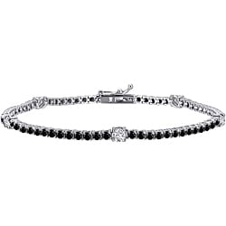 Auriya 14k Gold 3ct TDW Black and White Diamond Tennis Bracelet