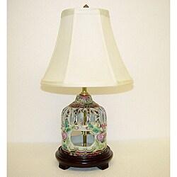 Rose Medallion Small Birdcage Porcelain Table Lamp