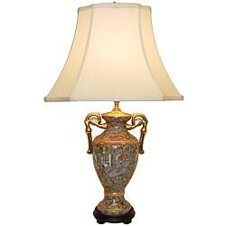Rose Canton Porcelain Trophy Vase Table Lamp
