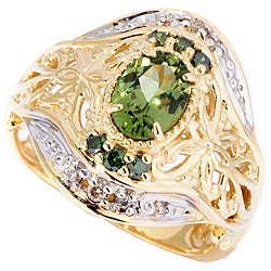 Michael Valitutti 14k Gold Tashmarine and 1/6ct TDW Diamond Ring (I-J, I1-I2)