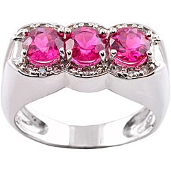 Michael Valitutti 14k Gold Rubellite and 1/5ct TDW Diamond Ring (I-J, I1-I2)