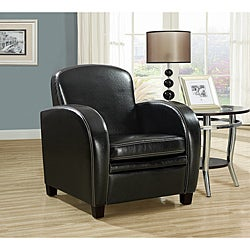 Black Leather-look Accent Chair