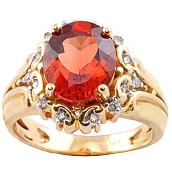 Michael Valitutti 14k Gold Red Sunstone and 1/6ct TDW Diamond Ring (I-J, I1-I2)