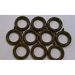 Black Mahogany Drapery Pole Rings (Set of 10)