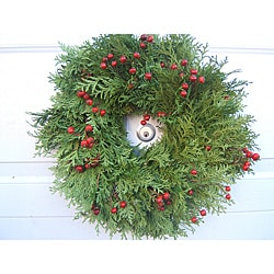 Fresh Cedar and Rosehip 24-inch Wreath