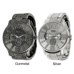 Geneva Platinum Men's Rhinestone-accented Chronograph-style Link Watch