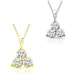 14k Gold 0.25ct TDW Diamond Three-Stone Necklace (I-J, I1-I2)