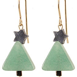 Green Aventurine Holiday Tree 14k Gold Fill Earrings