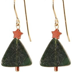Green Serpentine Holiday Tree Earrings with 14k gold fill