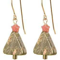 'Unakite Holiday Tree' 14k Gold Fill Earrings