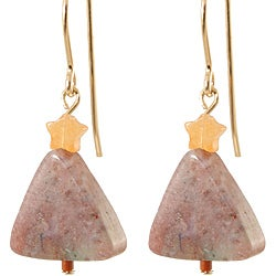 Fancy Agate 14k Gold Fill Holiday Tree Earrings