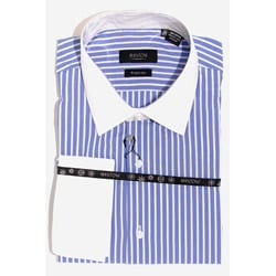Men's Blue Stripe Wrinkle-Free French Cuff Shirt
