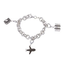 Victoria Kay Sterling Silver 1/5ct TDW Black and White Diamond Travel Charm Bracelet