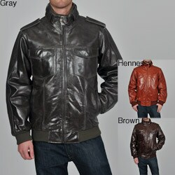 Knoles & Carter Men's Stand Collar Bomber Leather Jacket