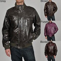 Knoles & Carter Men's Classic Urban Bomber Leather Jacket