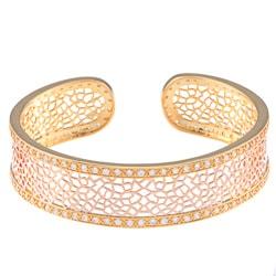 La Preciosa Two-tone Goldtone Cubic Zirconia Open Cuff Bracelet