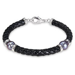 Miadora Silvertone Freshwater Black Pearl and Brown Leather Bracelet (9-10 mm)
