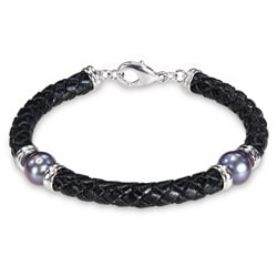 Silvertone Freshwater Black Pearl and Brown Leather Bracelet (9-10 mm)