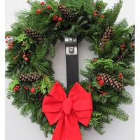 Fresh Balsam Wreath with Holly Berry and Pinecones