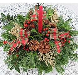 Fresh Balsam Candle Centerpiece with Plaid, Holly and Berries