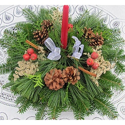 Fresh Balsam Candle Apples & Cinnamon Centerpiece