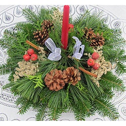 Fresh Balsam 3 Candle Apples and Cinnamon Centerpiece