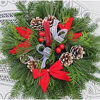Fresh Balsam Wreath One Candle Centerpiece
