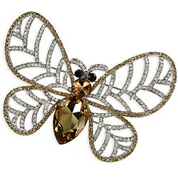 Topaz and White Crystal Stones Butterfly Design Brooch