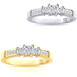 14k Gold 2ct TDW Princess Diamond Engagement Ring (I-J, I1-I2)
