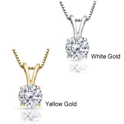 14k Gold 1ct TDW Round Diamond Solitaire Necklace (J-K, I1)