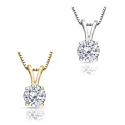 14k Gold 1 1/4ct TDW Round Diamond Solitaire Necklace