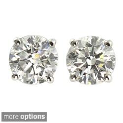 14k Gold 1/2ct TDW Round Diamond Hearts and Arrows Stud Earrings (H-I, VS1-VS2)