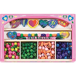 Melissa & Doug Sweet Hearts Wooden Bead Set with Pink Decorative Case