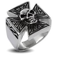 Men's Iron Cross with Skull Stainless Steel Ring