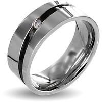 Stainless Steel Cubic Zirconia Men's Black Stripe Wedding Band