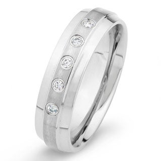 Stainless Steel Brushed Center Crystal Ring