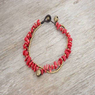Shell and Brass Bead Anklet (Thailand)