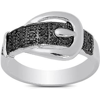 Finesque Gold Overlay Diamond Accent Buckle Design Ring with Red Bow Gift Box
