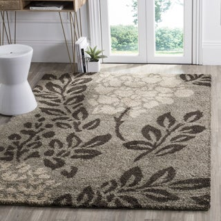 Safavieh Ultimate Shag Smoke/ Dark Brown Floral Area Rug (6' 7 Square)