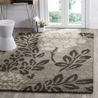 "Safavieh Ultimate Shag Smoke/ Dark Brown Floral Area Rug - 6'7"" x 6'7"" square"
