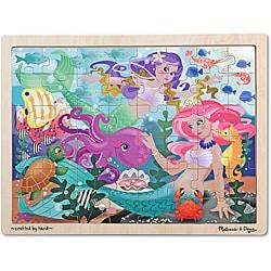 Melissa & Doug Mermaid Fantasea Wooden Jigsaw Puzzle - 48pc - Thumbnail 0