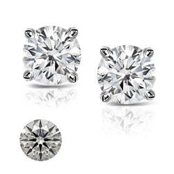 Platinum 2ct TDW Heart and Arrow Diamond Stud Earrings